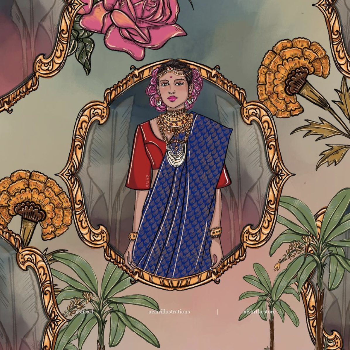 Illustration of an Indian woman wearing traditional costume surround by flowers