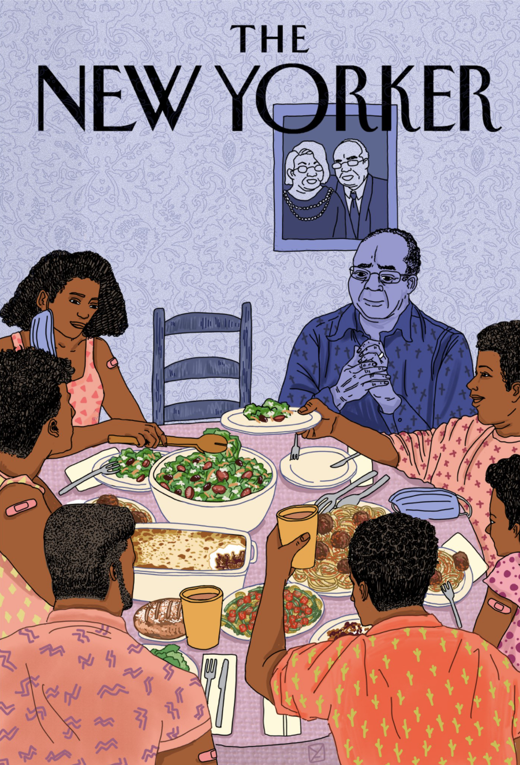 Illustrated cover of The New Yorker featuring a black family sitting down to dinner after the pandemic. There is an empty chair.
