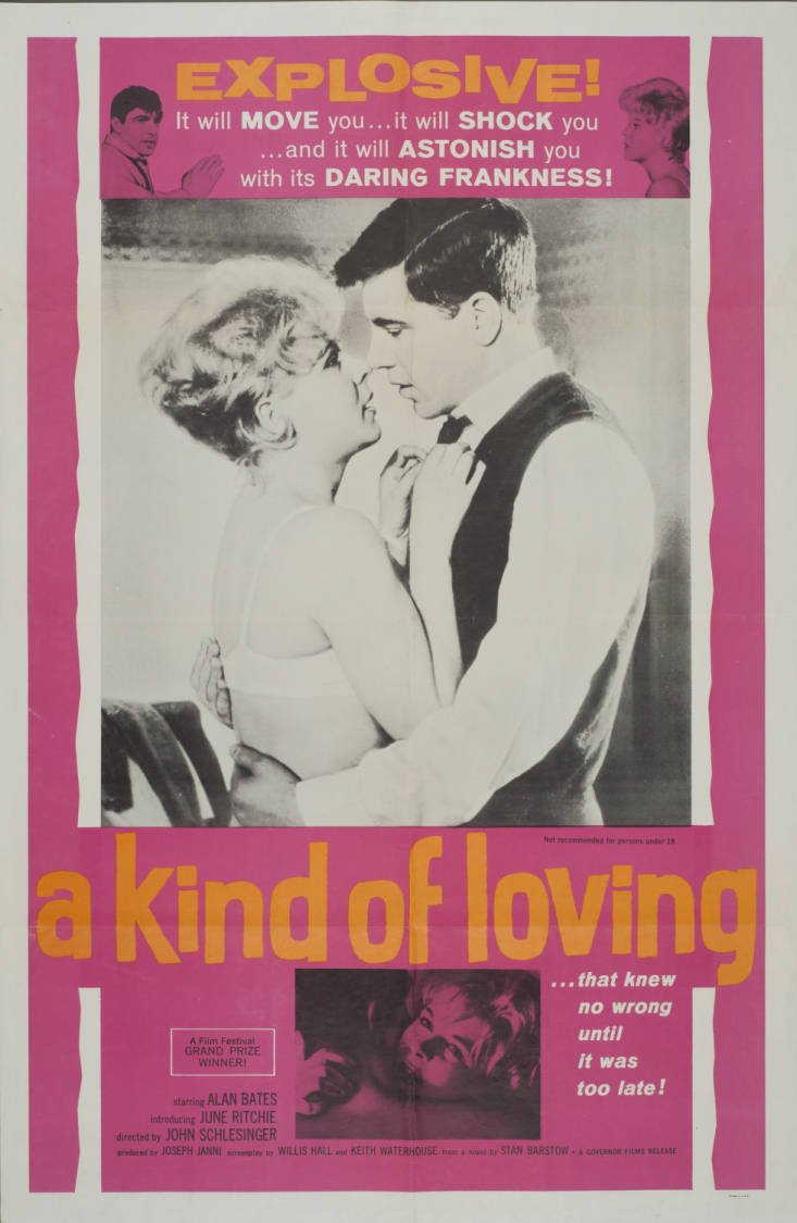 Movie poster of 60s film 'A Kind of Loving' featuring a black and white picture of the two stars in an embrace