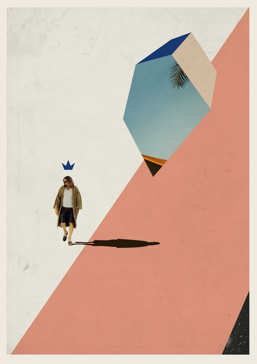 A man. wearing shorts and a dressing gown is walking. Above his head is a crown and his body casts a long shadow. An abstract shape above him has a blue sky and palm tree contained within it.