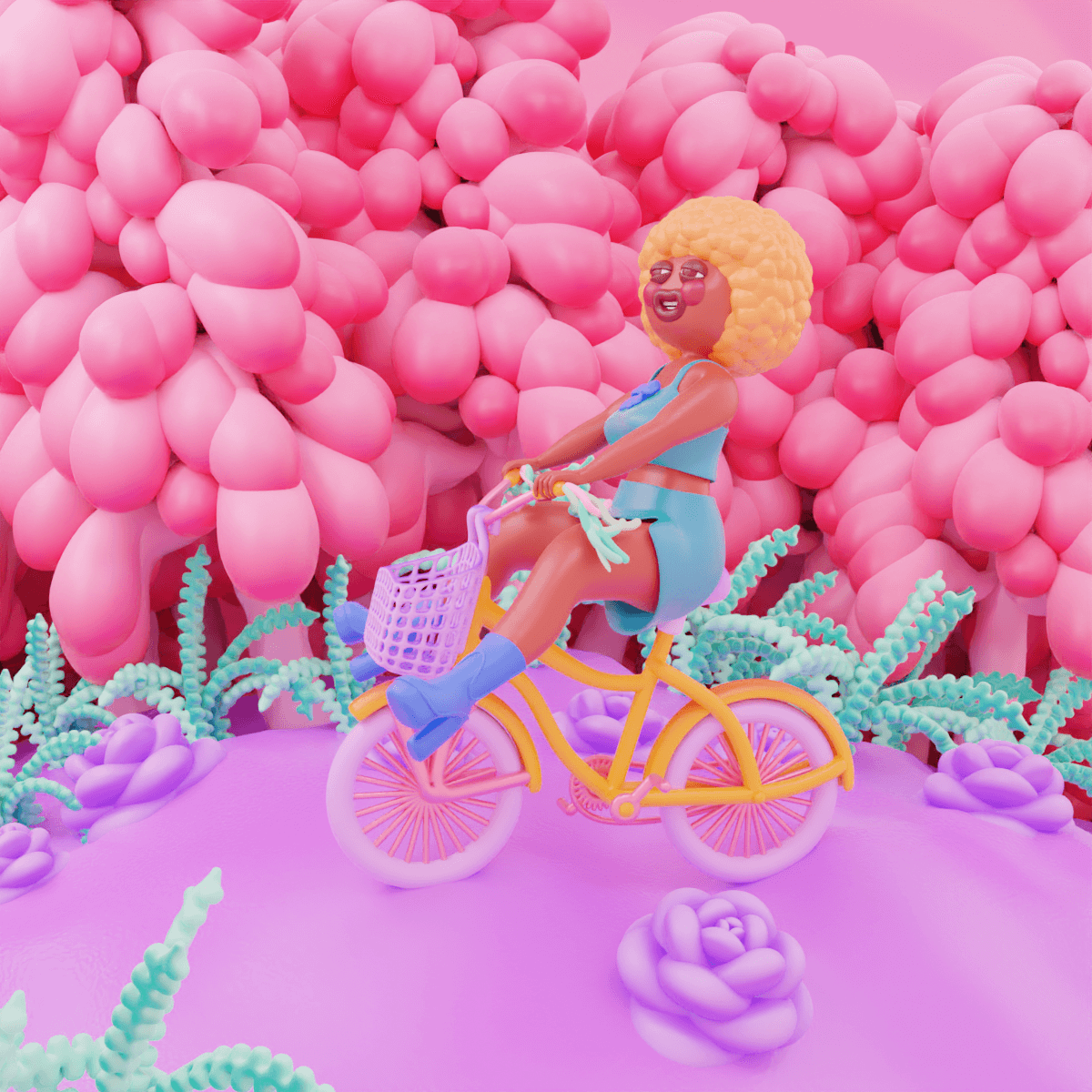 3D Illustration of a girl on a yellow bike with pink wheels, and yellow afro