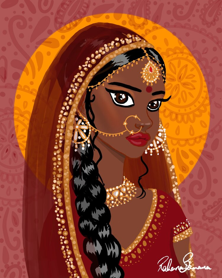 Illustration of an Indian girl wearing traditional dress