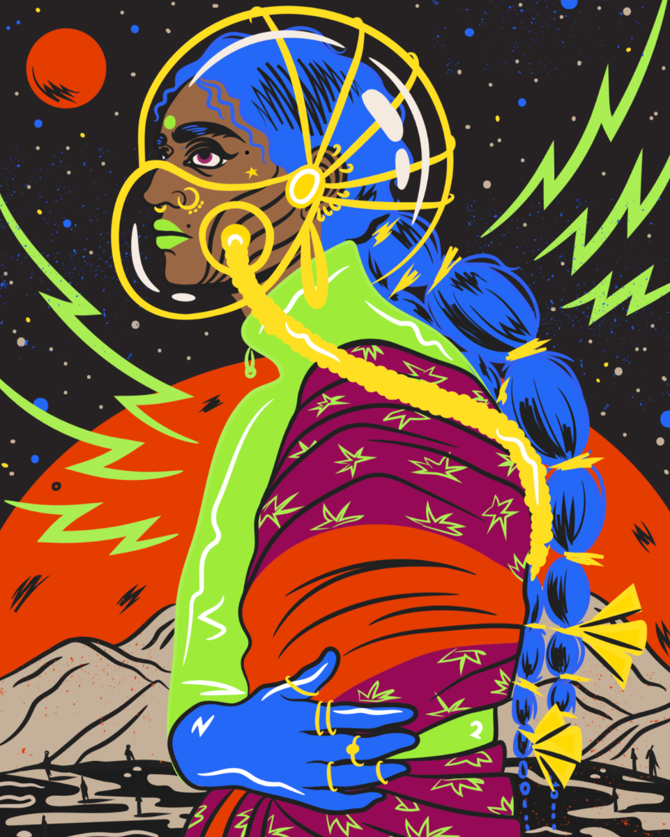 Futuristic image of an Indian woman with blue hair, a see-through space helmet and a big red moon in the backgroundr