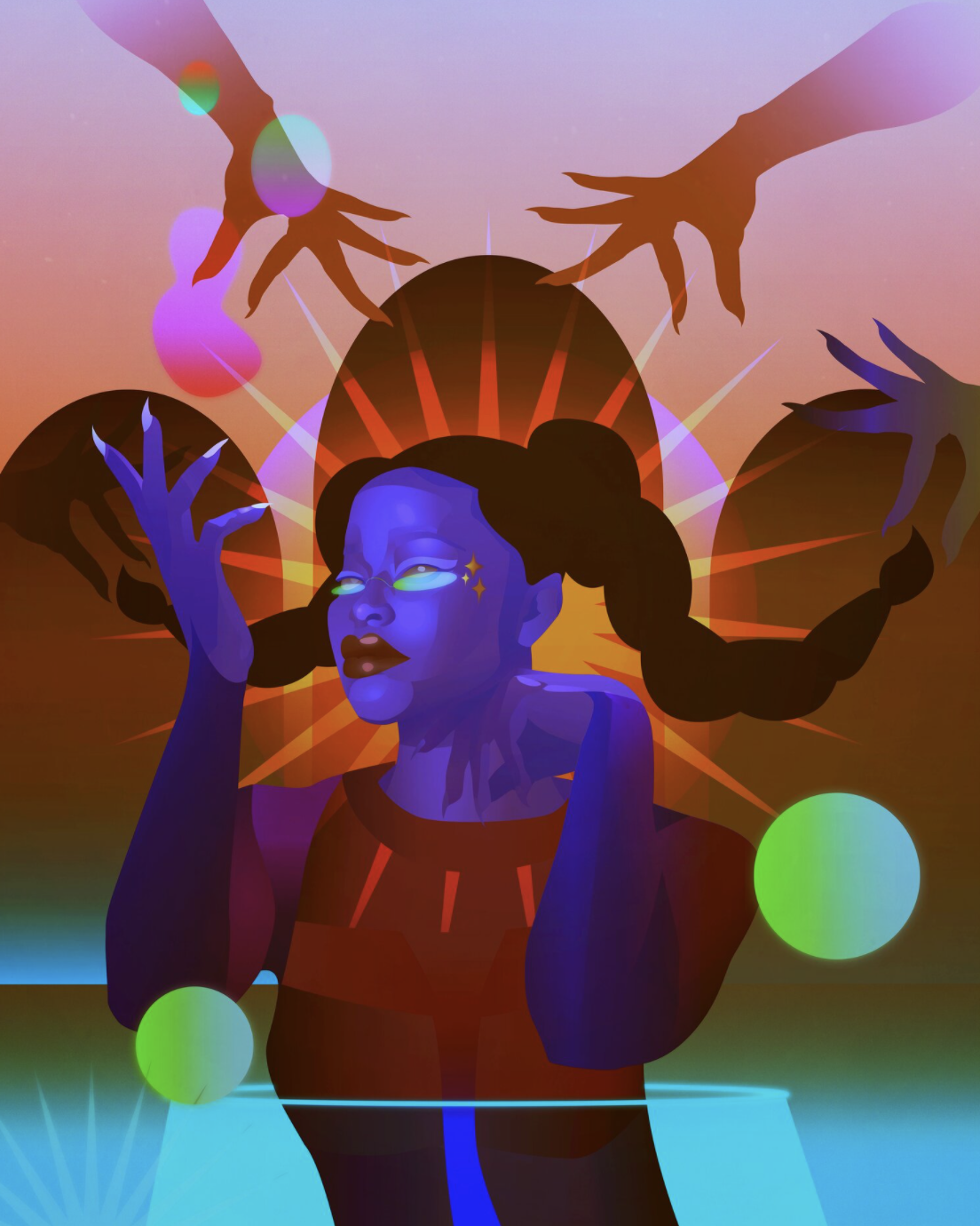 Futuristic illustration of black gilr with a purple face and platted hair