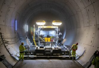 Paving the longest rail tunnels in Germany needs VÖGELE Super Paver power