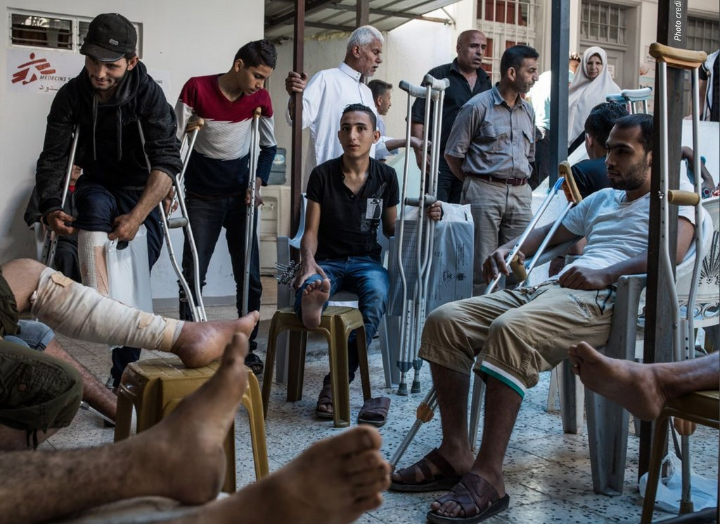 Patients at the MSF clinic in Gaza (Photo: Doctors Without Borders/Médecins Sans Frontières)