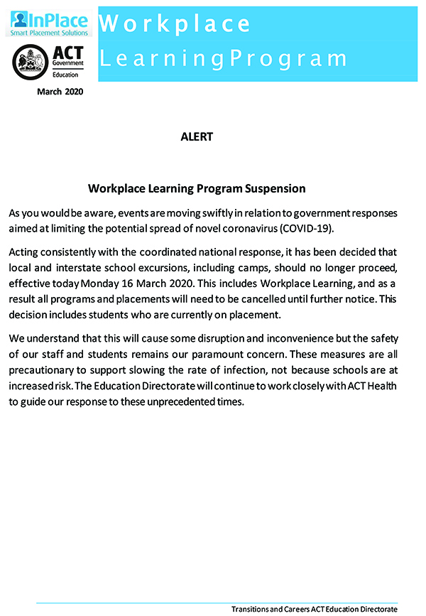 Workplace Learning Program Suspension