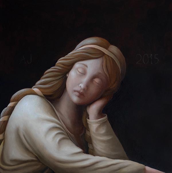 Anja Jager 'Engelmeisje', olieverf/paneel, 30x30 cm