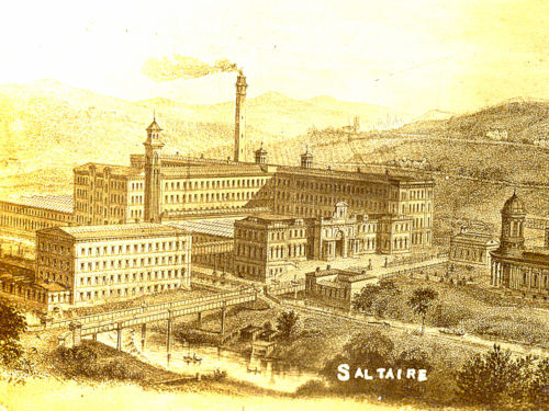 Saltaire viewed from the north, from 'Balgarnie's Salt', 1877