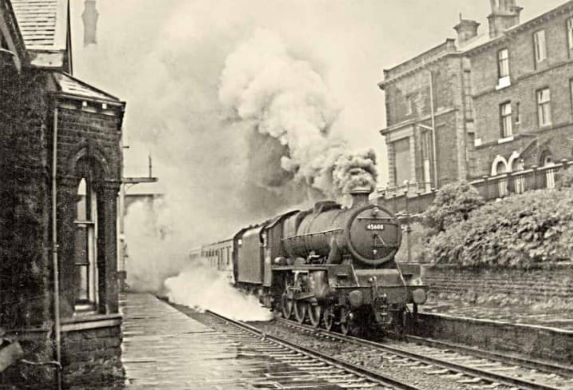 Saltaire Train station with steam train