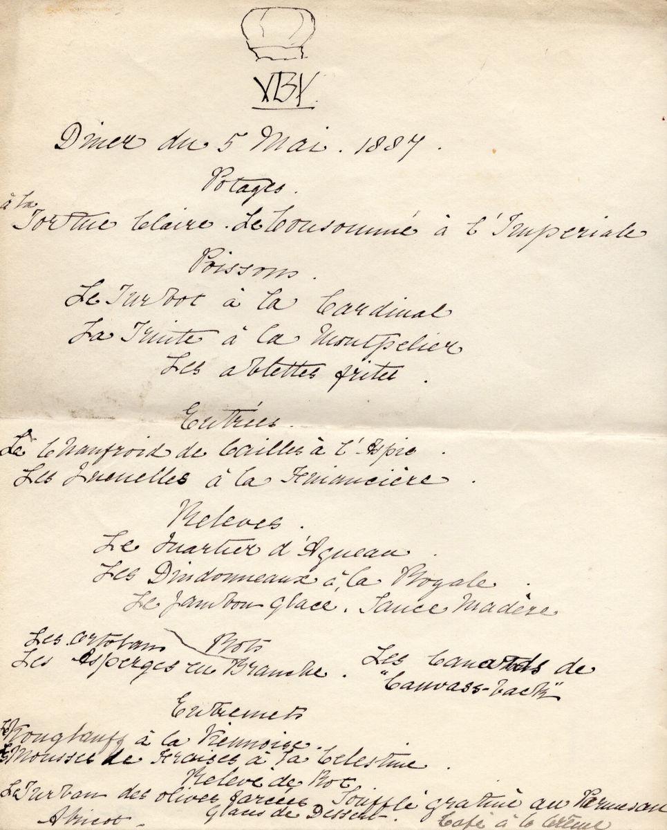Dinner menu from the Royal visit to Milner Field in 1887