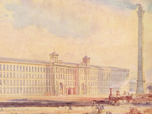 Watercolour painitng of Salts Mill