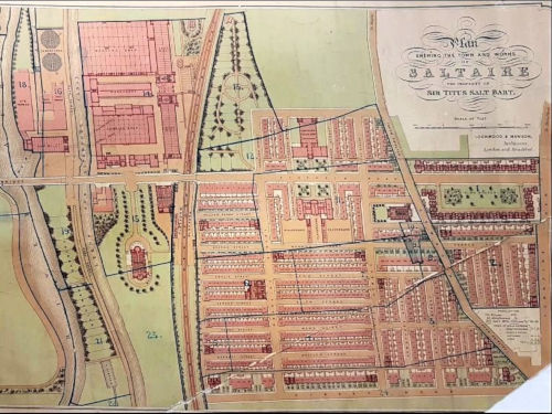 Coloured map of Saltaire from the 1870s
