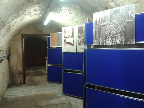 Display boards in Dining Hall tunnel