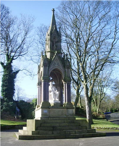 Recent view of the statue of Titus Salt in Lister Park, created 1874