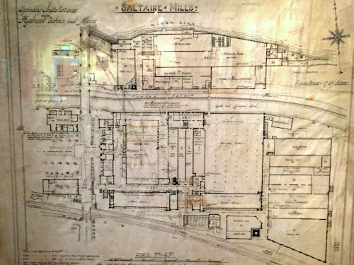 Plan of Saltaire Mills in about 1912 showing location of sprinklers