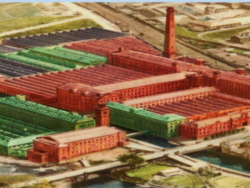 Salts Mill with sections coloured by age