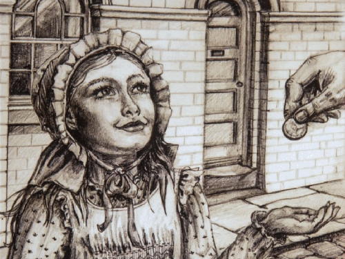Drawing of young woman being given a coin