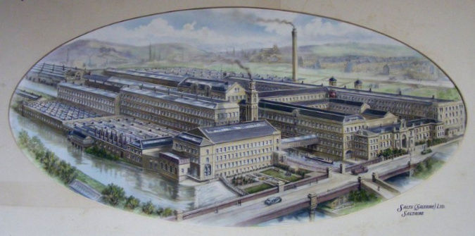 Watercolour painitng of Salts Mill, post 1923