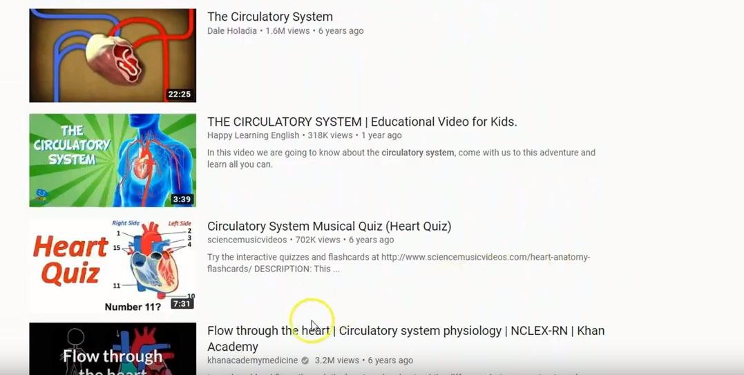 Screenshot of YouTube CC licensed video list