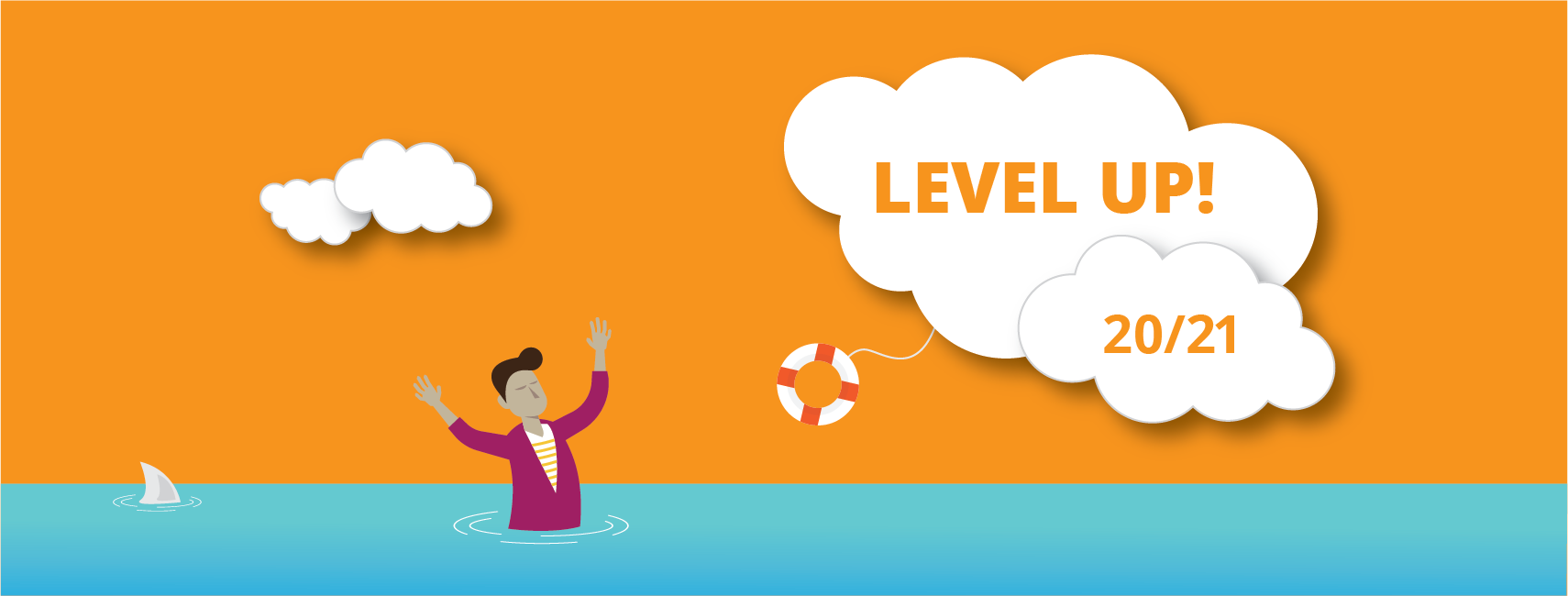 """Illustration of a person sinking in water with """"Level Up 20/21"""" in a cloud"""