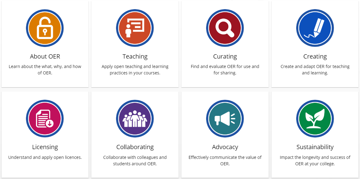 Screenshot of the College Libraries Ontario OER Toolkit website. Click the link in the text to view the website.