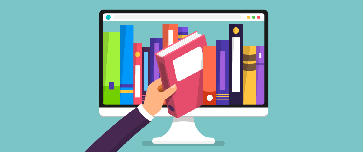 A hand reaching into a computer monitor pulling out a book from a book shelf