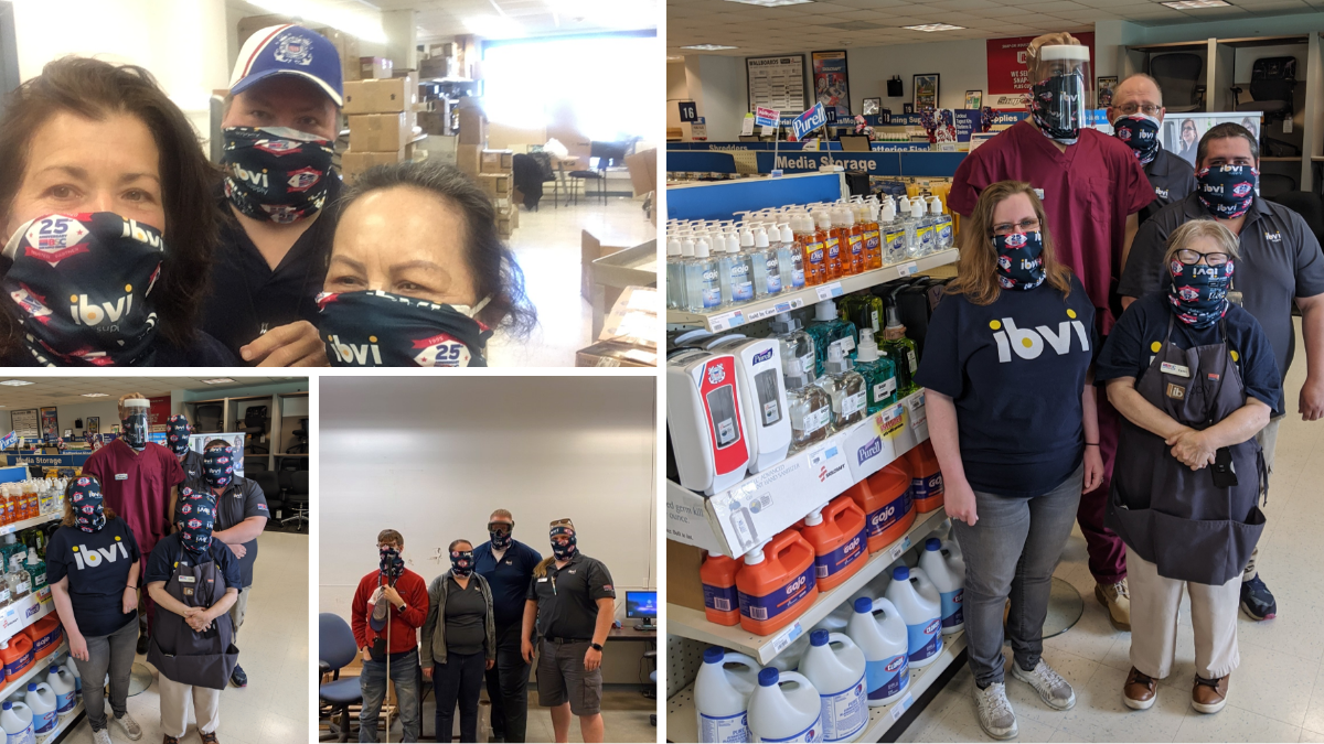 Pix of BSC staff with masks on from Boston, Hill AFB, and Detrick stores