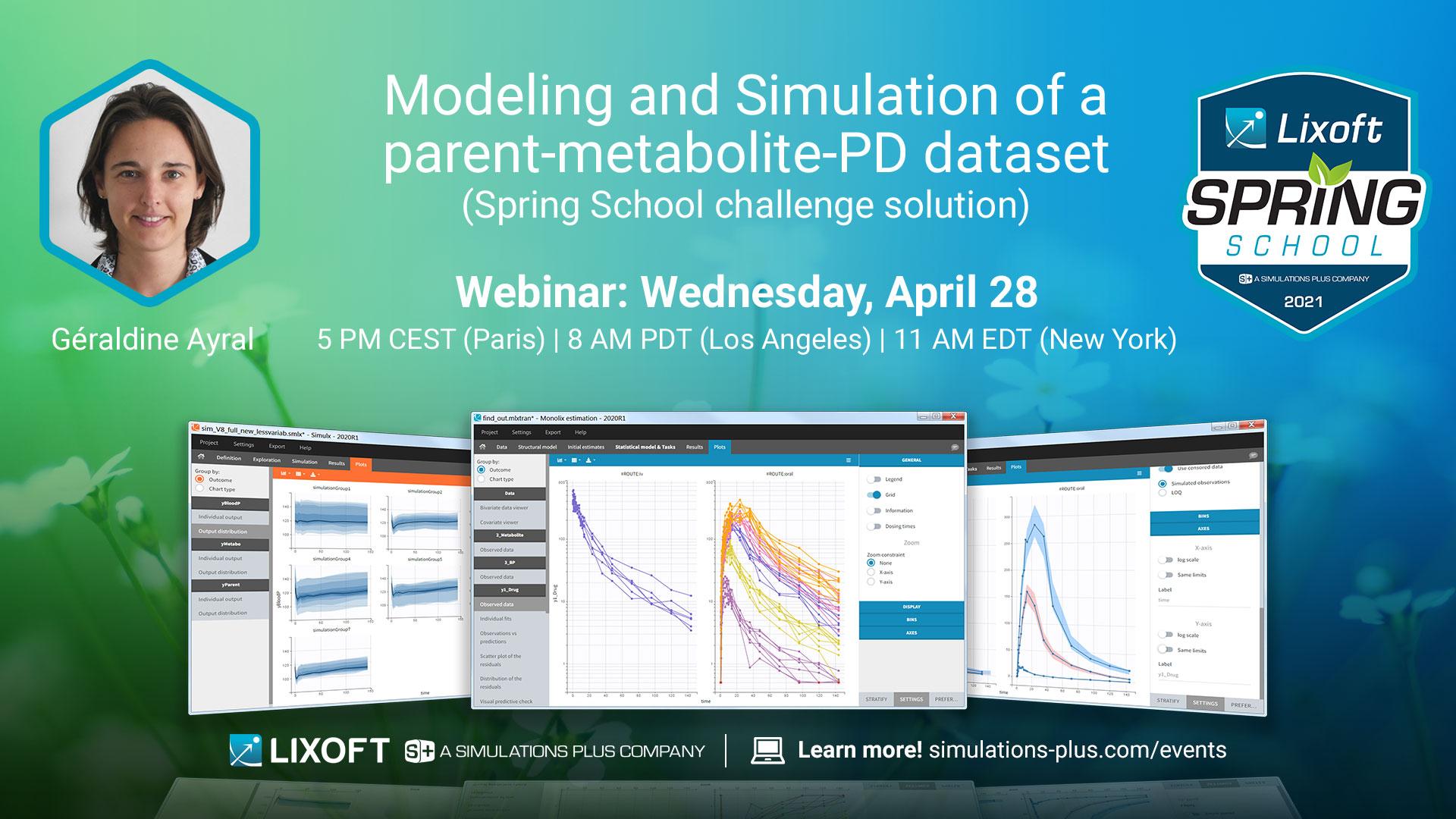 Modeling and simulation of parent-metabolite-PF dataset spring school challenge solution webinar lixoft wedenseday april 28 geraldine ayral