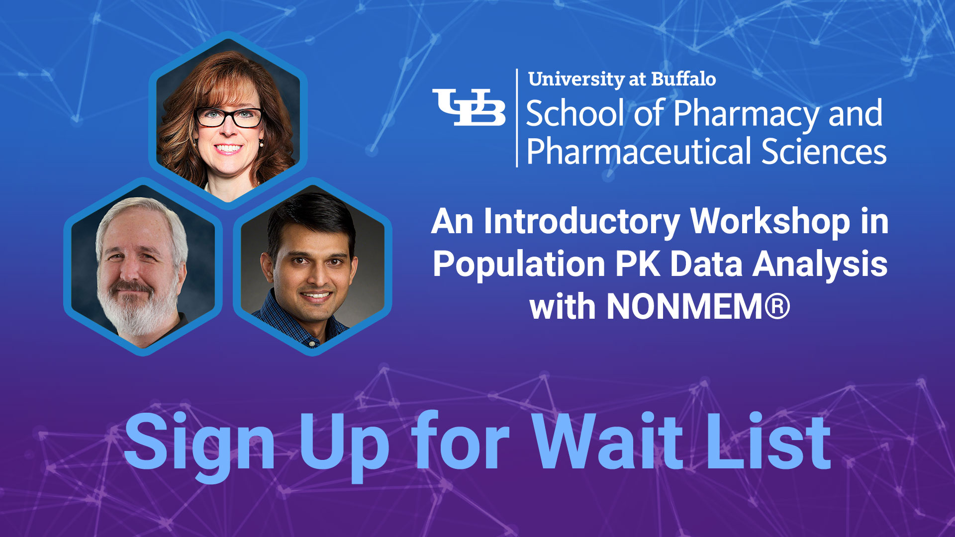 cognigen school of pharmacy and pharmaceutical sciences an introductory workshop in population data analysis with NONMEM sign up for waitlist