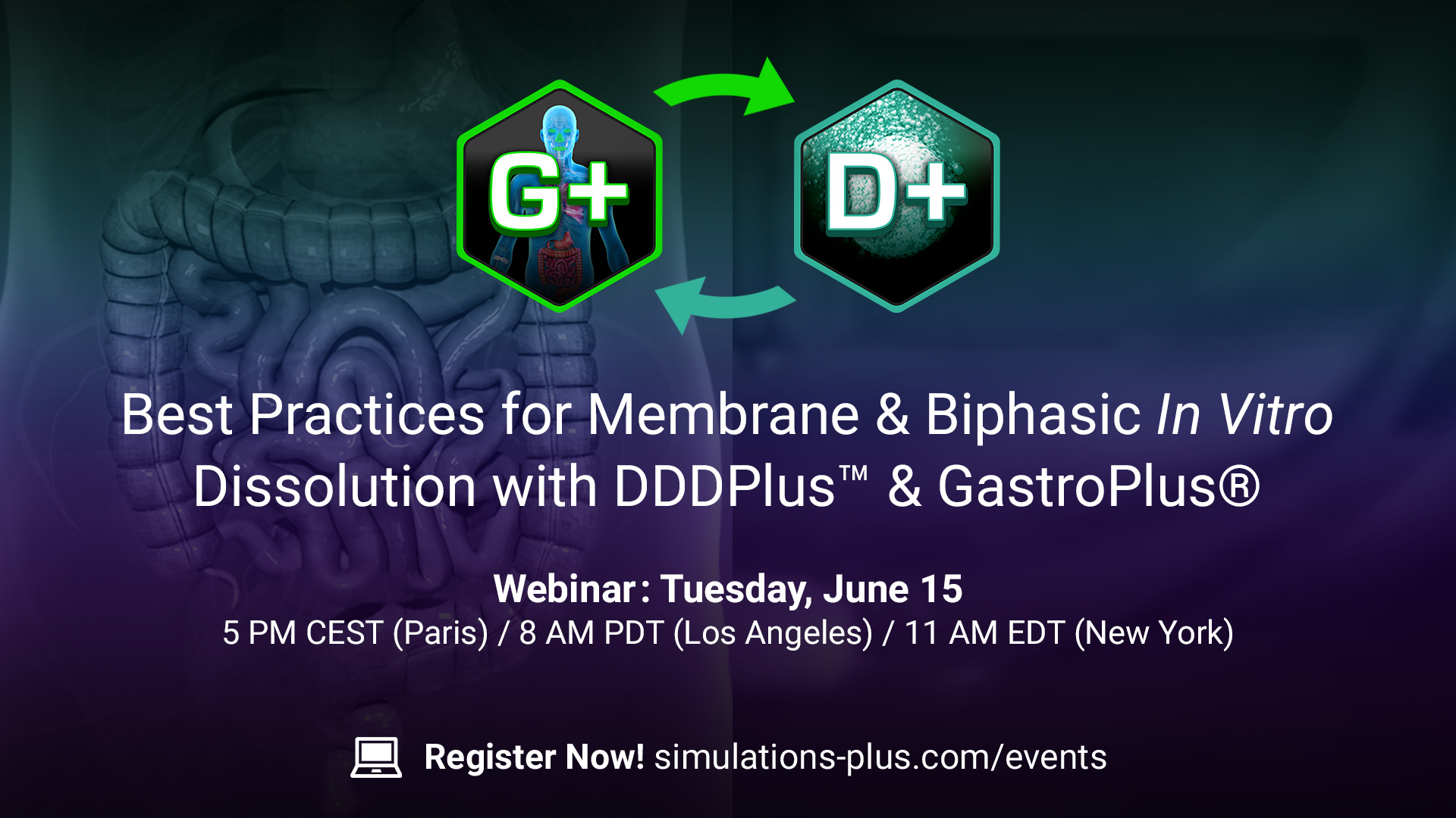 gastroplus DDDPlus webinar best practices for membrance and biphasic in vitro dissolution with DDDPLUS and gastro plus