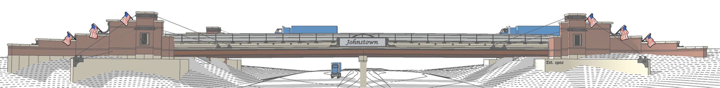 """Picture of Johnstown Briddge at HWY 60 and I25 aesthetic changes. Featuring flag poles on either side of the bridge as well as a classically styled """"Johnstown"""" text in the center. The bridge is brown and brick"""