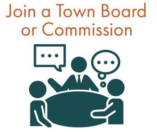 """Image of three people chatting around a table with text """"Join a Town Board or Commission"""". Click this image for more info about Boards and Commissions."""