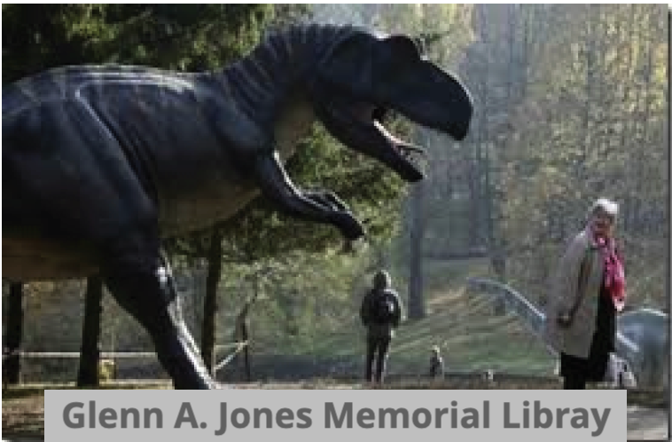 """Picture of a T-rex from the movie """"Jurassic Park"""" for humor with text """"Glenn A Jones Memorial Library"""
