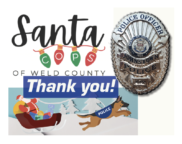 """Decorative Graphic that says """"Thank you"""" from the Santa Cops Program with Santa, a police dog and JPD badge"""