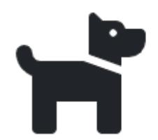 decorative icon/image of a small dog - black