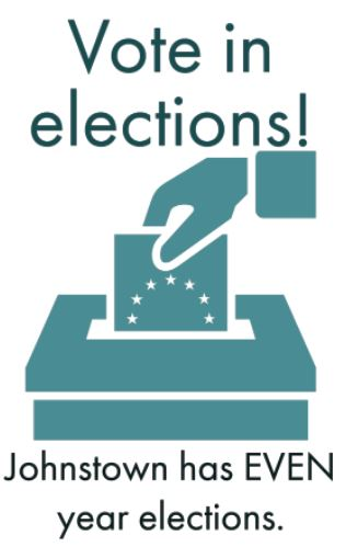 """Image of hand putting a ballot into an election box with text """"Vote in elections"""". Click on this image for more municipal election info"""