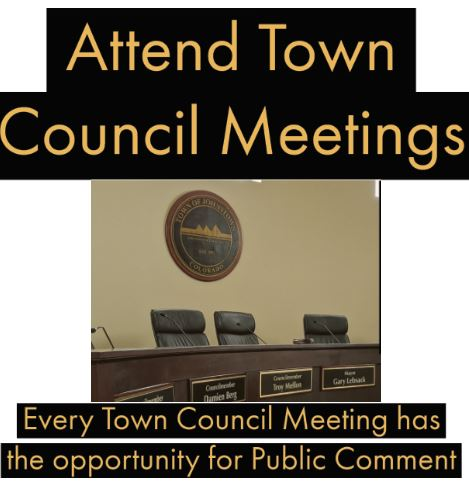 image of Johnstown Town Council Chamber zoomed into the Town seal and Mayors seat. Click on this image for more information about Town Council Meetings