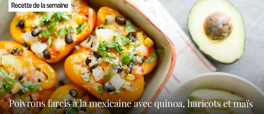Poivrons farcis à la mexicaine avec quinoa, haricots et maïs