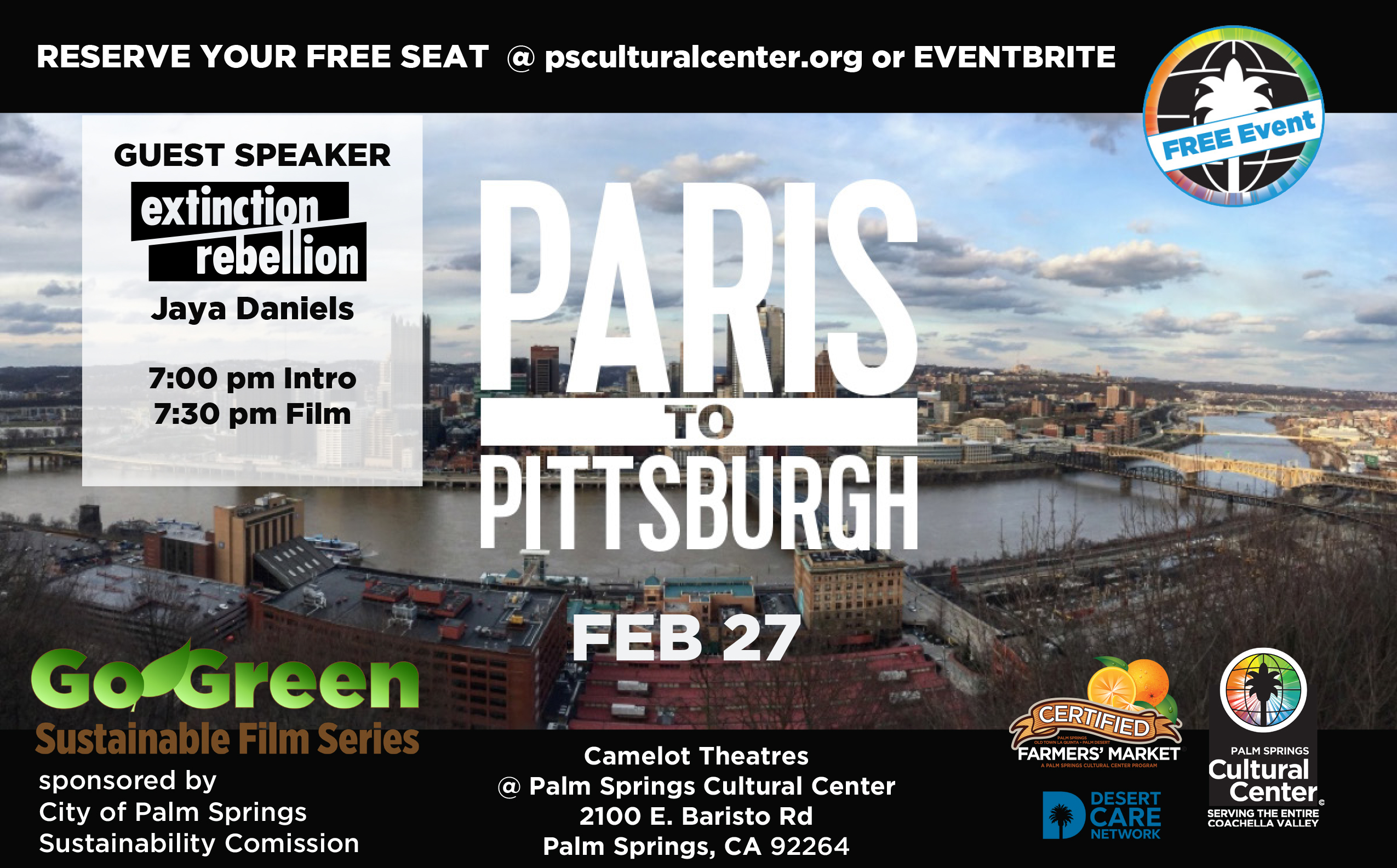 Palm Springs Cultural Center Free Special Community Event: Paris to Pittsburg at the Camelot Theatres in Palm Springs