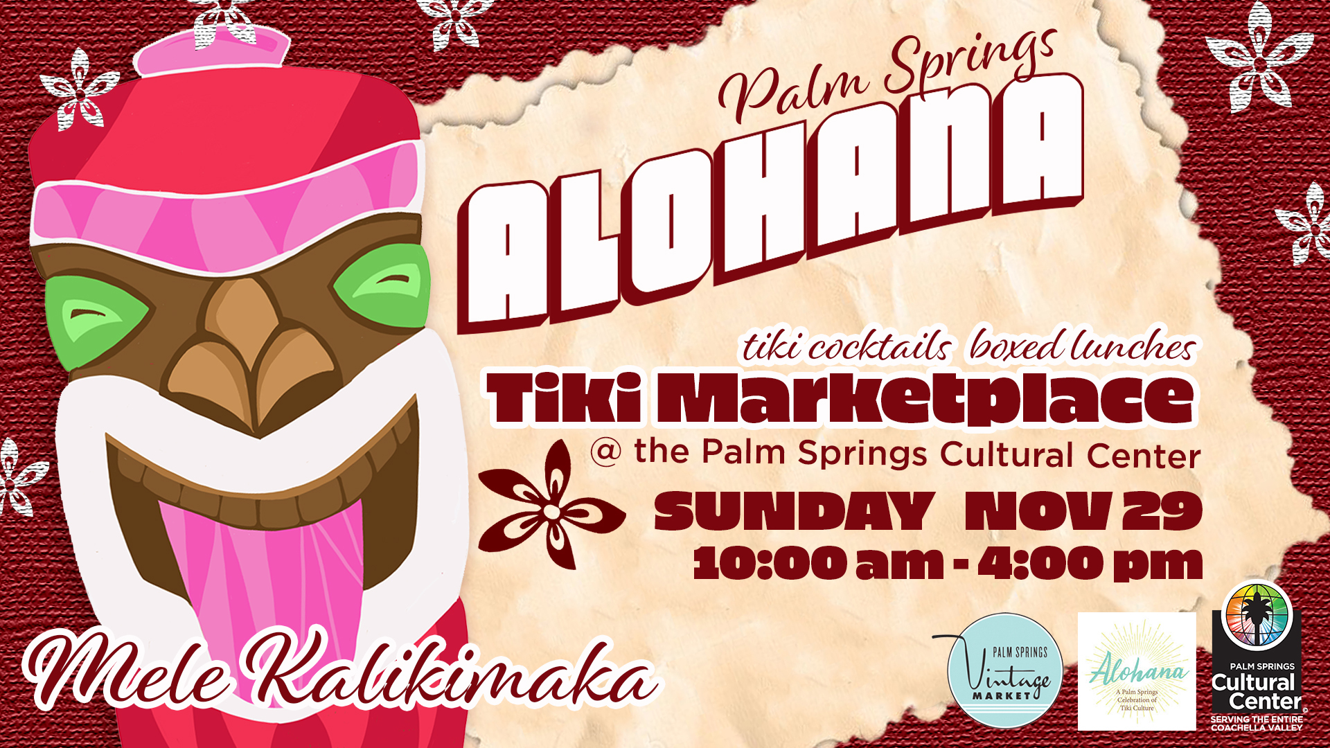 Palm Springs Alohana: Tiki Marketpalace at the Camelot Theatre at the Palm Springs Cultural Center