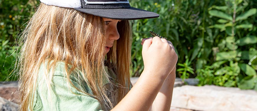 child exploring a caterpillar on her hand