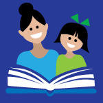Smiling woman and girl reading a book