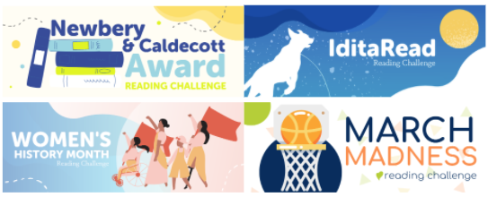 Newberry & Caldecott Award, IditaRead, Women's History Month, & March Madness Reading Challenges