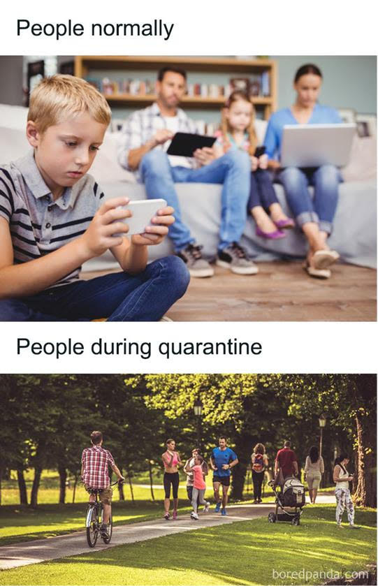 people normally (on screens) vs people during quarantine (in the park)