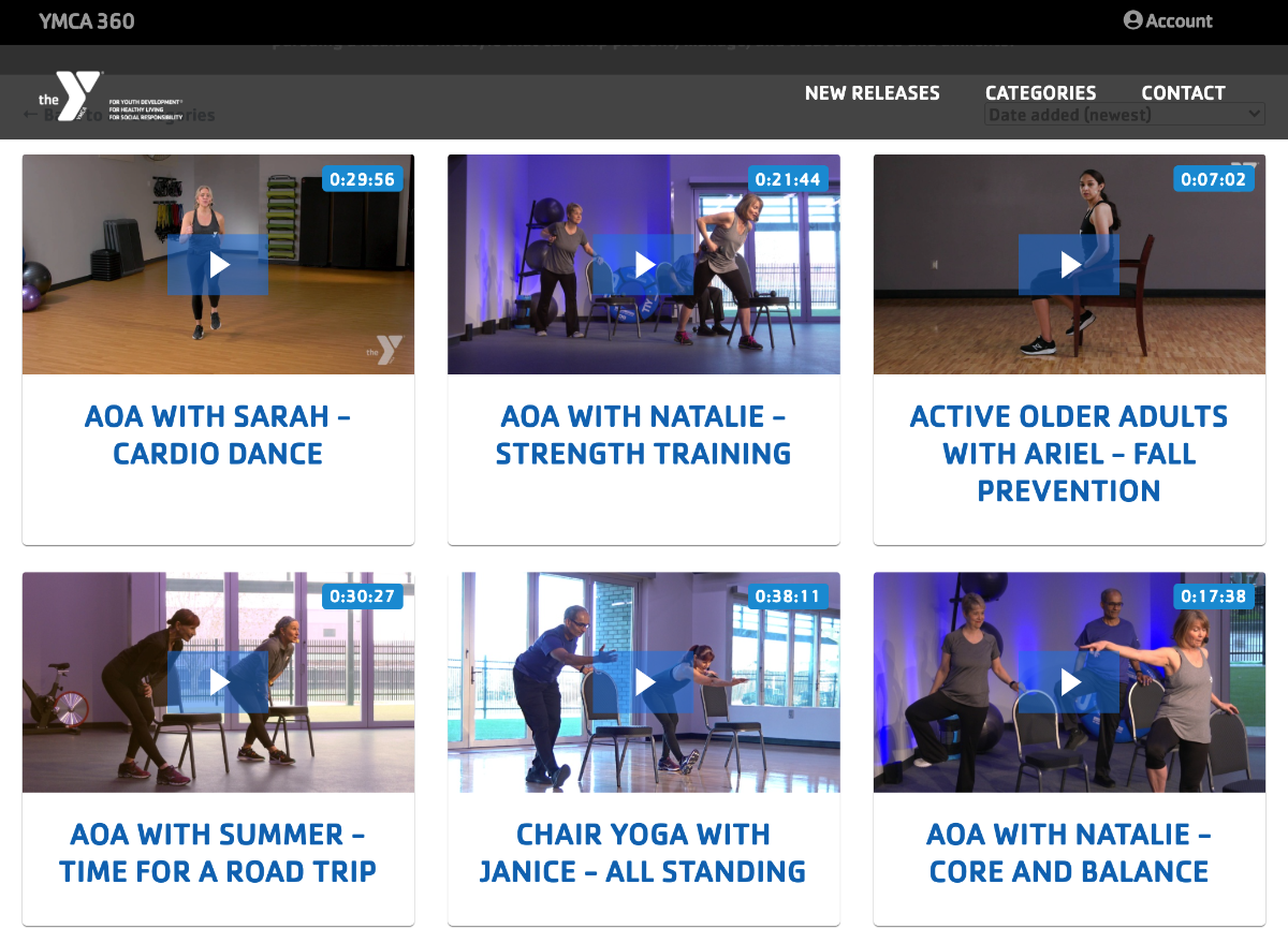 YMCA exercise videos for older adults