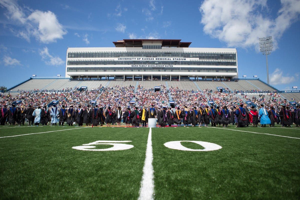 Commencement at Memorial Stadium with faculty