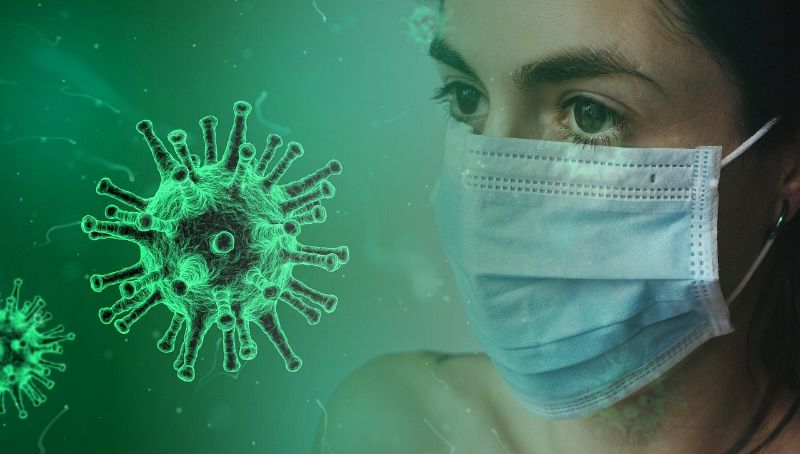 Woman in a mask with a coronavirus image layered on top