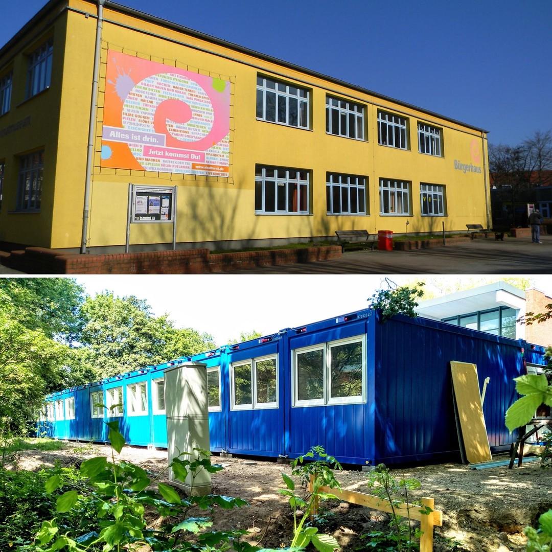 Eidelstedter Bürgerhaus und neue blaue Container