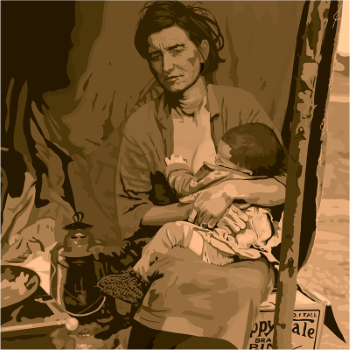 Woman nursing child